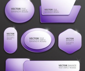Purple web banner vector set 02