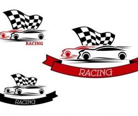Racing car ribbon labels vector