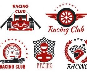 Racing club labels design vector