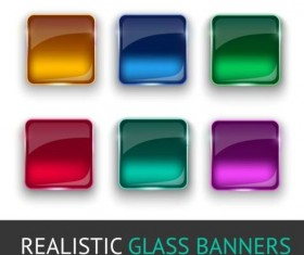 Realistic glass buttons vector set