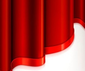 Red curtain with decorative tape vector 03