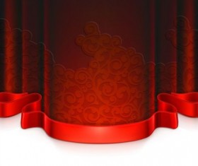 Red curtain with decorative tape vector 04