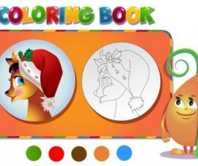 Reindeer christmas coloring book vector