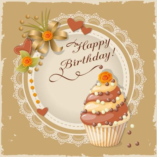 Birthday Cake Images Card : Retro birthday card with cake vector 01 - Vector Birthday ...