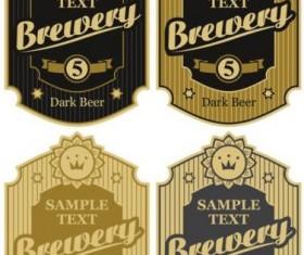 Retro brewery label sticker vector 01