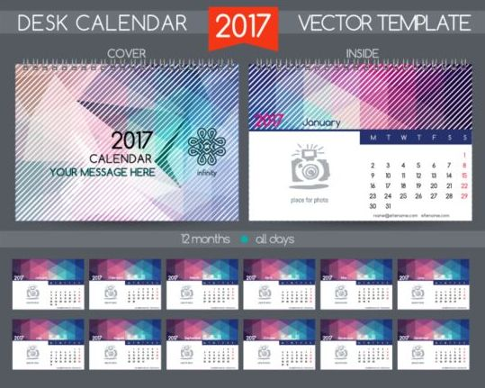 Retro Desk Calendar 2017 Vector Template 20 Free Download