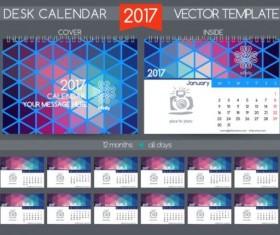 Retro desk calendar 2017 vector template 26