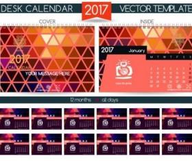 Retro desk calendar 2017 vector template 27