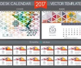 Retro desk calendar 2017 vector template 28