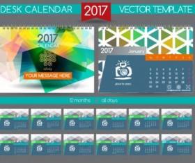 Retro desk calendar 2017 vector template 30