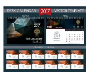 Retro desk calendar 2017 vector template 31