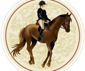 Retro horsewoman labels vector 02