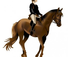Rider woman and horse vector