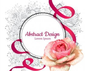 Roses with floral frame and ribbon vector material 01