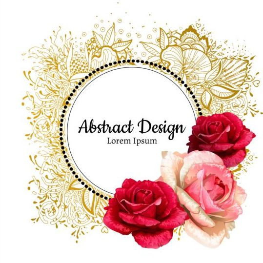 Roses With Floral Frame Vector 03 Free Download