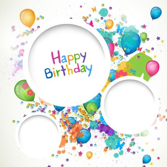 Round frame with Happy birthday background vector free download