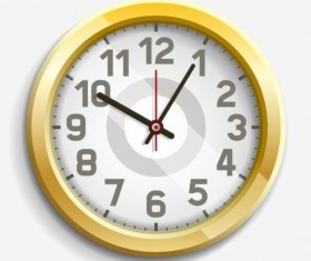 Round golden clock vector