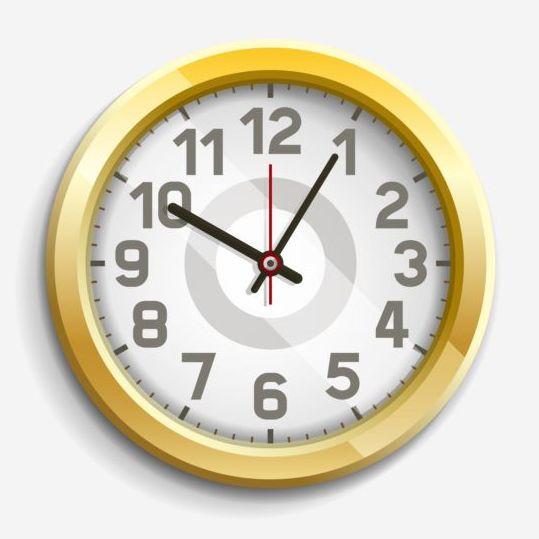 Round golden clock vector