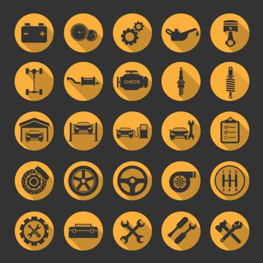 Round yellow car icons vector