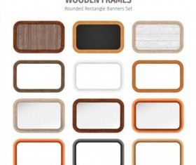 Rounded rectangle wooden frames vector