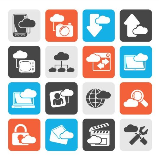 Rounded square cloud storage icons 02