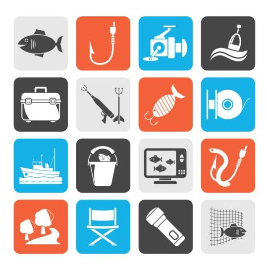 Rounded square fishing icons