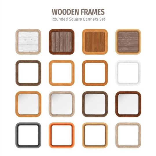 Square wooden frames vector