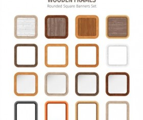 Rounded square wooden frames vector