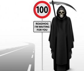Scytheman with road signs vector 01