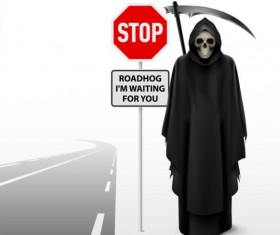 Scytheman with road signs vector 02