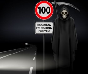 Scytheman with road signs vector 03