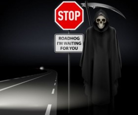 Scytheman with road signs vector 04