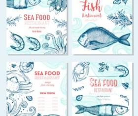 Sea food restaurant menu cover vector 01