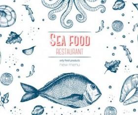 Sea food restaurant menu cover vector 02