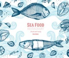 Sea food restaurant menu cover vector 03