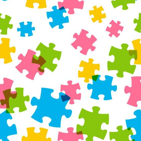 Seamless pattern with color puzzle vector - Vector Pattern ...