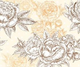 Seamless peonies pattern hand drawn vector 01
