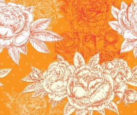Seamless peonies pattern hand drawn vector 02