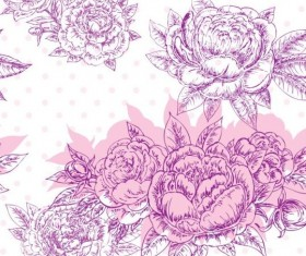 Seamless peonies pattern hand drawn vector 03