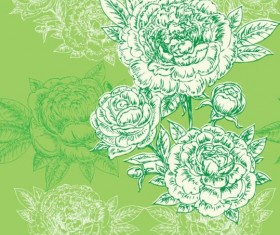 Seamless peonies pattern hand drawn vector 04
