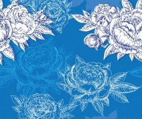Seamless peonies pattern hand drawn vector 05