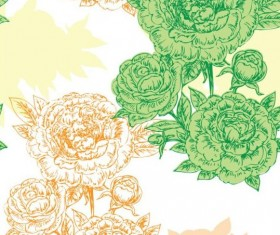 Seamless peonies pattern hand drawn vector 06