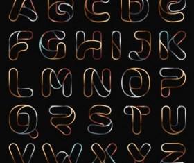 Shining alphabet vectors set