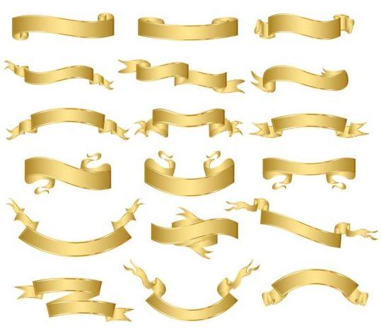 Shiny golden ribbon vector set 01