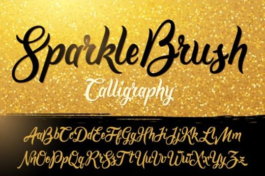 Sparkle brush calligraphy vector vector font free download