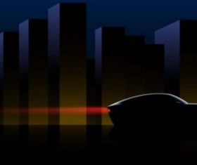 Sport car silhouetter with city skyscrapers vector