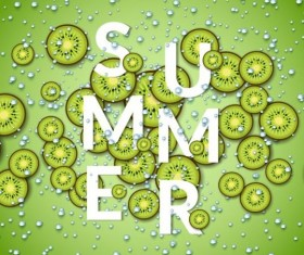 Summer fizzy water background with kiwi slices vector 01