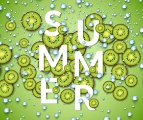 Summer fizzy water background with kiwi slices vector 02
