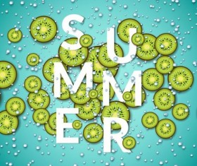Summer fizzy water background with kiwi slices vector 04