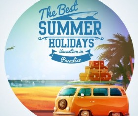 Summer holiday bus tour vintage vector